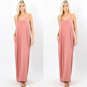 Dresses & Skirts - Pink maxi dress, pocket maxi dress in ash rose